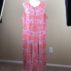 J. Jill 100% Linen Pleated Pocketed Shift Dress
